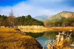 Mountains river  in autumn.  Muga, Catalan Pyrenees Stock Photography
