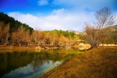 Mountains river   in autumn.  Muga, Pyrenees Royalty Free Stock Photo