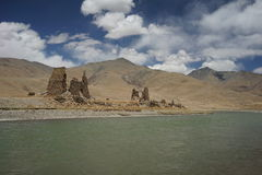 Mountains ,river and the dilapidated Tibet house Royalty Free Stock Images