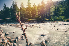 Mountains River and forest Landscape with cable rope Royalty Free Stock Photos
