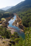 Mountains river. With forest riverside. Guadalquivir river, Andalusia, Spain royalty free stock images