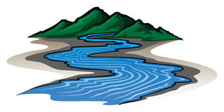 Mountains and River. Illustration of a graphic style mountain range and running river