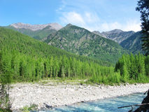Mountains and river landscape. Mountains, river and forest landscape with blue sky Stock Image