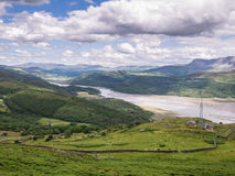 Mountains and River Landscape in Wales Royalty Free Stock Photos