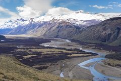 Mountains and river in Patagonia, Argentina royalty free stock photo