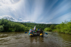 Mountains river and rafts Stock Photo