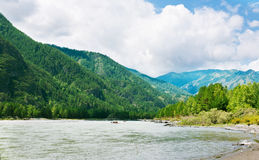 Mountains river with rocky riverside Royalty Free Stock Image