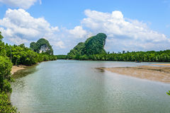 Mountains and river. Scenery from the town of krabi thailand Stock Image