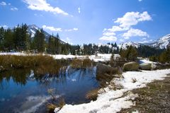Mountains, River and Snow in the Spring Royalty Free Stock Images