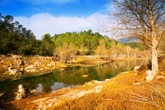 Mountains river  in sunny winter day.  Muga, Catalan Pyrenees. Spain Stock Images