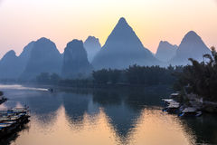 Mountains and River Sunrise View at Guilin City in China Royalty Free Stock Photos