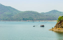 Mountains and river in Thailand Royalty Free Stock Photos