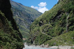 Mountains and rivers of Annapurna, Nepal Stock Image