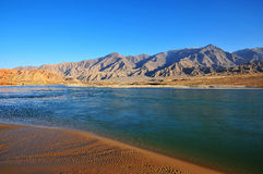 Mountains and rivers. The river is  Yellow River,The Yellow River is Chinese second longest river, is the  fifth river on the world Stock Image