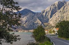 Mountains road around Kotor Bay royalty free stock images