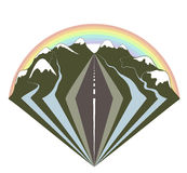 Mountains road and a rainbow Royalty Free Stock Photos