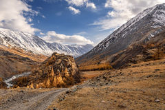 Mountains road river autumn sky Royalty Free Stock Photography