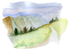 Mountains landscape road watercolor Royalty Free Stock Image