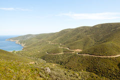 Mountains, roads and sea Royalty Free Stock Image