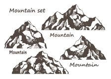 Mountains and rocks set. Mountains and rocks on a white background set. Vector sketch and text stock illustration