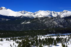 Mountains in Rocky Mountain National Park. Longs peak, Mount Alice, Pagoda Mountain, and other peaks laden with snow from late season storm Royalty Free Stock Photos
