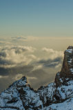 The mountains of the Roque de los Muchachos. Sunset in the mountains of the Roque de Los Muchachos Stock Photo