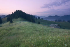 Mountains rural landscape before sunrise Stock Photos