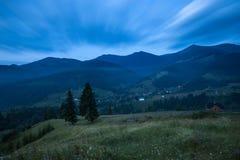Mountains rural landscape before sunrise Stock Image