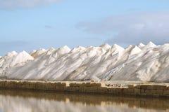 Mountains of salt. Production of sea salt Trapani (Sicily Stock Image