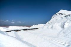 Mountains of salt on Bonaire island Royalty Free Stock Photography
