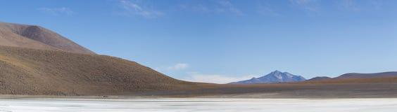 Mountains and salt pan in Eduardo Avaroa Reserve, Bolivia Stock Image
