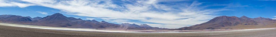 Mountains and salt pan in Eduardo Avaroa Reserve, Bolivia Stock Photo
