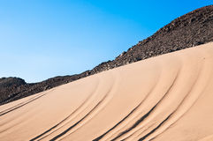 Mountains and sand in the Arabian desert Royalty Free Stock Images