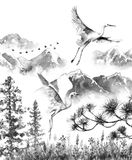 Mountains Scene with Flying Storks. Watercolor painting.  Hand drawn illustration. Mountains scene with white flying storks  and fir-trees. Monochrome serenity Royalty Free Stock Photography