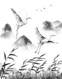 Mountains Scene with Flying Storks. Watercolor painting.  Hand drawn illustration. Mountains scene with white flying storks  and reeds. Monochrome serenity Stock Images