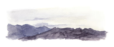 Mountains scenic view. Aquarelle outdoor drawing Stock Image