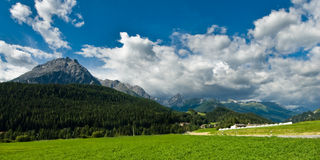 Mountains at Scuol. Scenic view of a mountain range around Scoul, Engadin, Switzerland Stock Photography