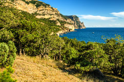 Mountains and sea. Panorama of the mountains and the sea Stock Images