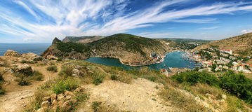 Mountains and sea. Balaklava bay. Panorama of the mountains and the sea Stock Photography