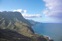 Coastal landscape with sun and shadow north west of Gran Canaria royalty free stock photography