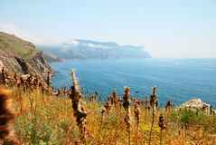 Mountains and the sea in Crimea. In summer Royalty Free Stock Photo