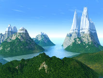 Mountains, the sea and green hills Royalty Free Stock Photos