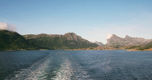 Mountains and sea Landscape in Norway Travel by ferry. Boat scenic view summer vacations stock footage