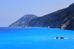 Mountains sea Lefkada Greece Stock Images