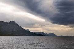 Mountains, sea and storm. Storm in Mediterranean sea, Croatia Royalty Free Stock Image