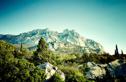 Mountains and sea at sunset. Crimea landscape Royalty Free Stock Photos