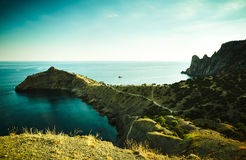 Mountains and sea at sunset. Crimea landscape Royalty Free Stock Image