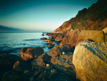 Mountains and sea at sunset. Crimea landscape Royalty Free Stock Photo