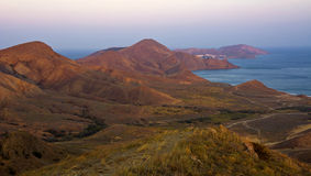 Mountains and sea at sunset in the surroundings of Koktebel.Crimea Royalty Free Stock Photo