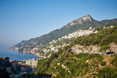 Mountains, the sea and the towns of Amalfi coast Royalty Free Stock Photo